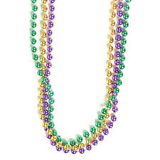 mardi gras beaded necklaces mardi gras party wear green gold purple metallic bead necklaces