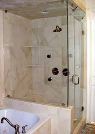 Shower Stalls For Small Bathrooms by Corner Glazed Shower Areas With White Granite Wall And Steel Rain
