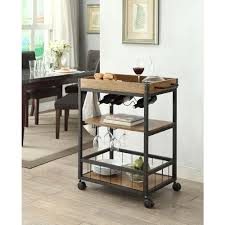 linon home decor austin black and brown kitchen cart 464908mtl01u