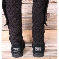 womens ugg lattice boots 6 ugg shoes ugg lattice cardy black knit boots us 10