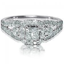 real diamond engagement rings cut engagement ring halo 1 25ct real diamond 14k white gold 0 4ct new