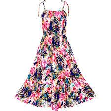girls dress tropical leaf skater ruffle skirt u2013 sunny fashion