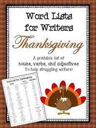 thanksgiving word list for writers by elizabeth vlach