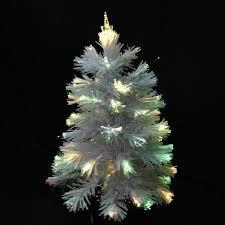 2ft spinning white fibre optic tree