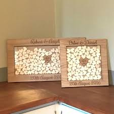 guest book alternative personalised wedding oak wooden rustic drop box hearts guest book