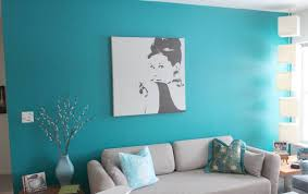 Room Decorating Ideas With Paper Living Room With Turquoise Color Wall And Grey Seating And White