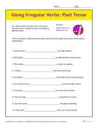 using irregular verbs past tense printable classroom activity
