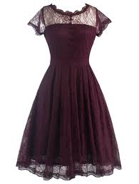 vintage dresses wine red 2xl lace a line vintage dress gamiss