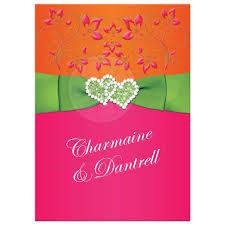 wedding invitations jamaica hearts wedding invitation tropical hot pink orange lime