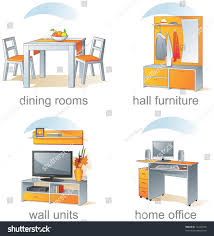 home office furniture wall units icon set home furniture dining rooms stock vector 16240573