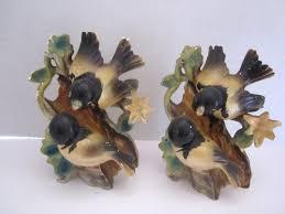 2 vintage oriole bird figures porcelain made in japan on tree