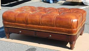 Leather Ottoman Tufted H M 079 Robinson Tufted Ottoman In Plaza Honey Burnished