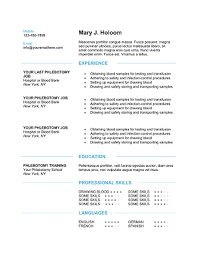 Free And Easy Resume Templates Download 10 Professional Phlebotomy Resumes Templates Free