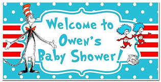 baby shower banners dr seuss cat in the hat baby shower banner