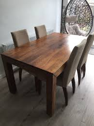 mango wood dining table dark mango wood dining table 160 x 90cms and 4 chairs in cheadle