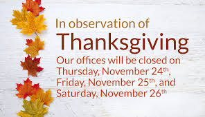 offices closed 11 24 16 through 11 26 16 in observation of