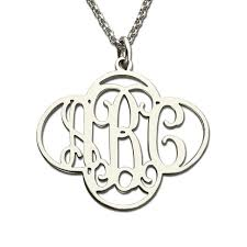 monogram necklace silver wholesale silver monogram necklace in cut out clover 4 leaf clover