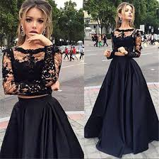 beauty a line long sleeve floor length satin black prom dresses