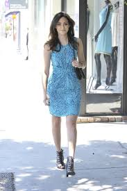 emmy rossum banana republic issa london blue ceramic dress the