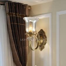 Brass Wall Sconce Transparent Glass Shade Antique Brass Wall Sconce