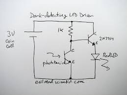 a simple and cheap dark detecting led circuit evil mad scientist