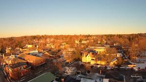 cute towns rhinebeck new york aerial view of snowy roofs and center of cute