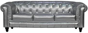 Silver Leather Sofa by Benjamin Classical 3 Seater Pu Leather Sofa In Silver Furniture