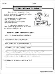 paragraph stories for reading comprehension reading comprehension worksheets for 3rd grade worksheets