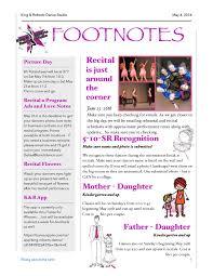 monthly newsletter king u0026 roberts dance studio