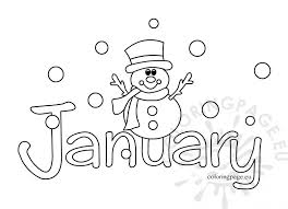 coloring page january color pages snowman template coloring page