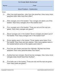 Math Worksheets For 1st Grade Addition And Subtraction Kids 6th Grade Word Problems Worksheet 6th Grade Word Problems