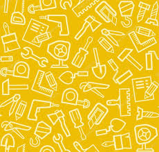 construction tools background seamless yellow u2014 stock vector