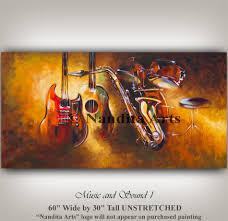 band painting wall art room decor guitar saxophones drum