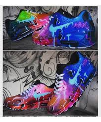 nike air max 90 custom blue galaxy style painted airbrush shoes
