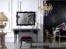 high end makeup vanity set with lighted mirror in black decofurnish