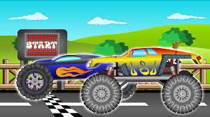 monster truck race videos monster truck vs police car car race for kids racing video for
