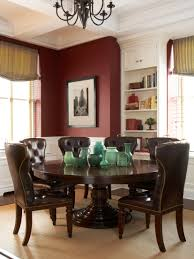 transitional dining area with burgundy walls white painted wood