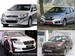 Hyundai Cars In Rapid City by Compare Vw Vento Vs Skoda Rapid Honda City Hyundai Verna