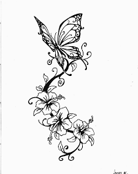 beautiful butterfly and swirly flowers sketch by