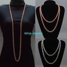 long chunky chain necklace images Metal chunky extra long chain necklace curb link silver rose gold jpg