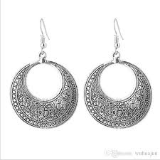 silver hoop earrings european bohemia style carved earrings women vintage antic