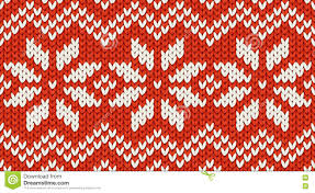 red christmas knit vector seamless pattern with white snowflakes