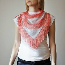 pink silver hand knitted triangle scarf salmon by rukamishop