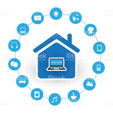 internet of things design concept with house and icons stock