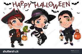 halloween costume stickers kids pirate parrot stock vector
