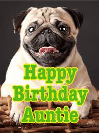 cheerful pug happy birthday card for aunt birthday u0026 greeting