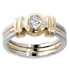 two tone wedding rings 0 25 ct tw two tone bezel set diamond anniversary