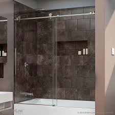 glass shower sliding doors dreamline enigma x 59 in w x 62 in h frameless bathtub door shdr