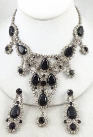 big rhinestone necklace images Dominique black rhinestone necklace set garden party collection jpg