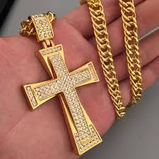 aliexpress cross necklace images Iced out cross necklace yellow gold filled zircons large crucifix jpg